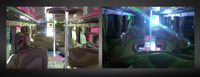 Silver party bus interior